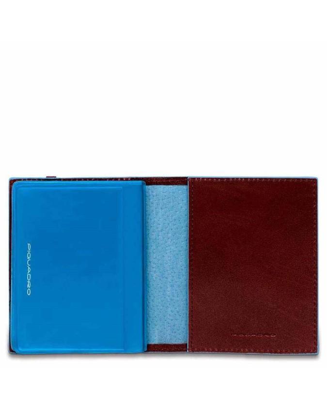 PIQUADRO - Porta Carte di Credito tascabile Mogano Blue Square - PP1395B2/MO