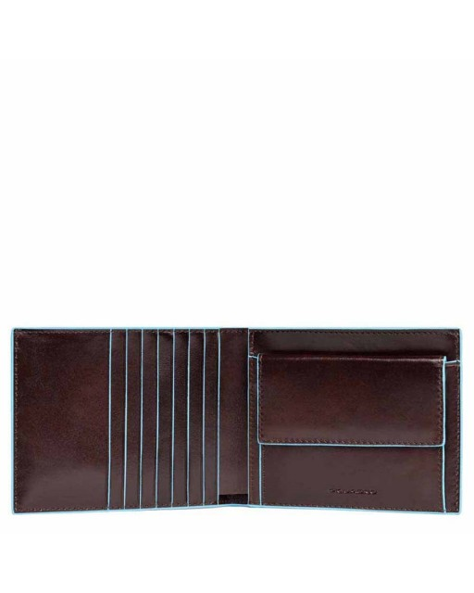 PIQUADRO - Portafoglio Uomo in Pelle con porta monete Mogano - Blue Square -  PU1239B2/MO