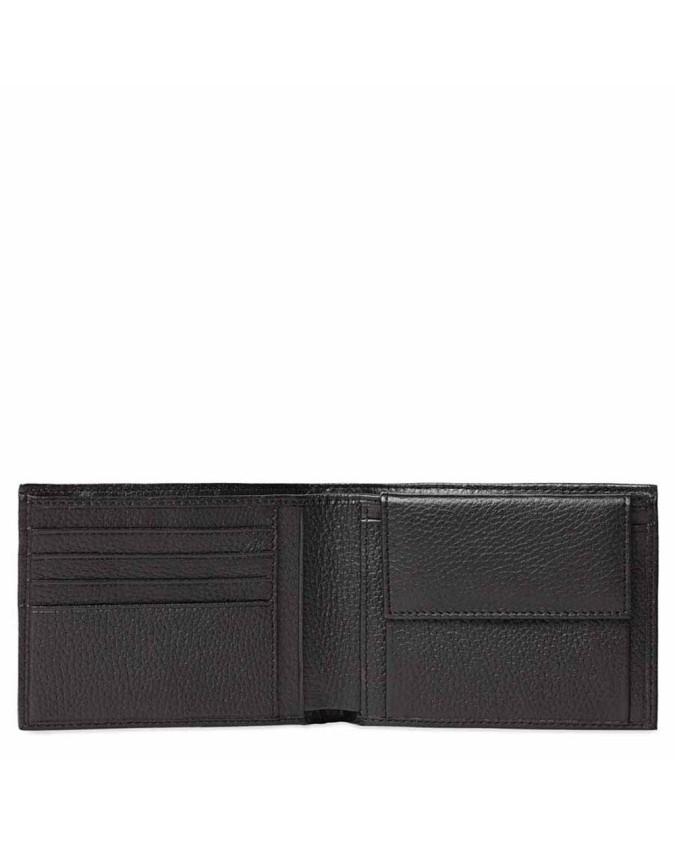 PIQUADRO - Portafoglio Uomo in Pelle con Porta monete - Nero - Linea Modus