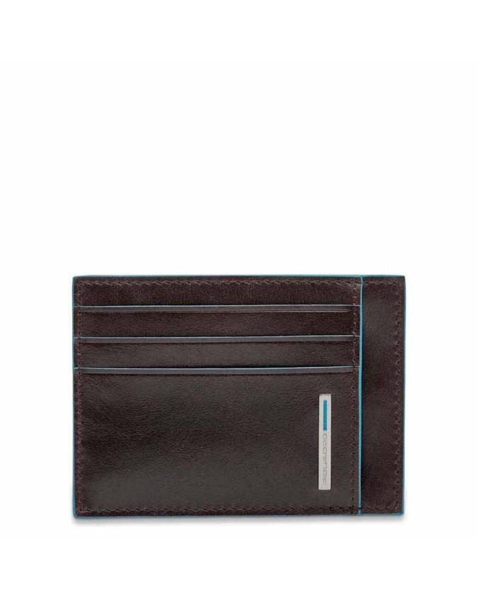 PIQUADRO - Porta carte di credito in pelle mogano - Mogano -