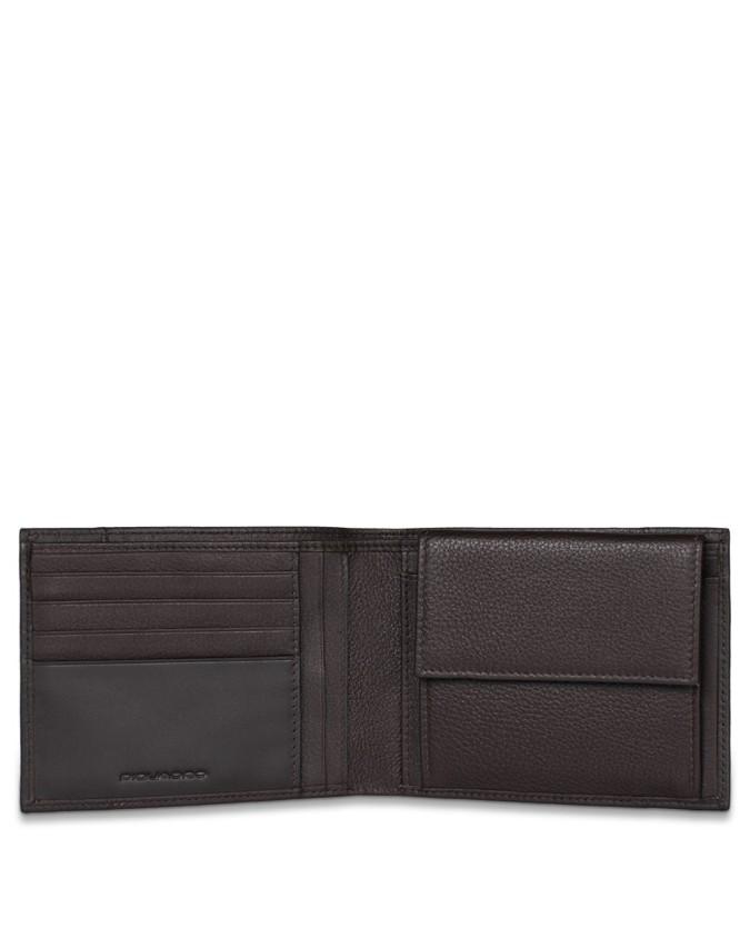 PIQUADRO - Portafoglio uomo in pelle con porta monete - Marrone