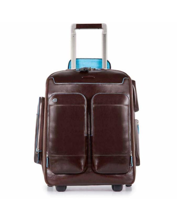 PIQUADRO - Zaino in pelle con portabilità a trolley - Mogano -
