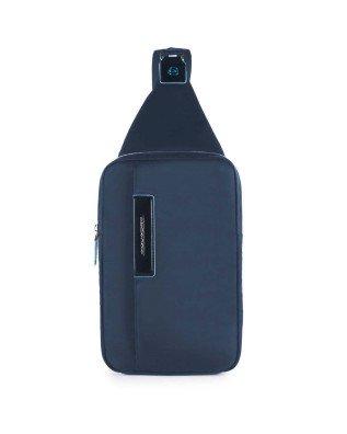 PIQUADRO - Monospalla in pelle e tessuto blu - Blu - CA3387CE/BLU