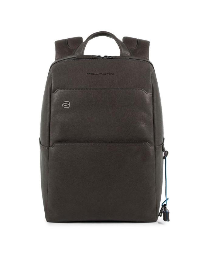 PIQUADRO - Zaino in pelle porta PC e porta iPad - Testa di moro - Linea Black Square - CA4022B3/TM
