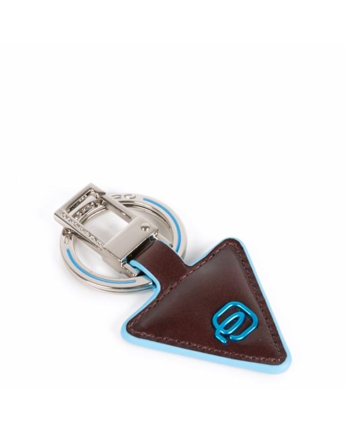 PIQUADRO - Portachiavi in pelle forma triangolare - Mogano -