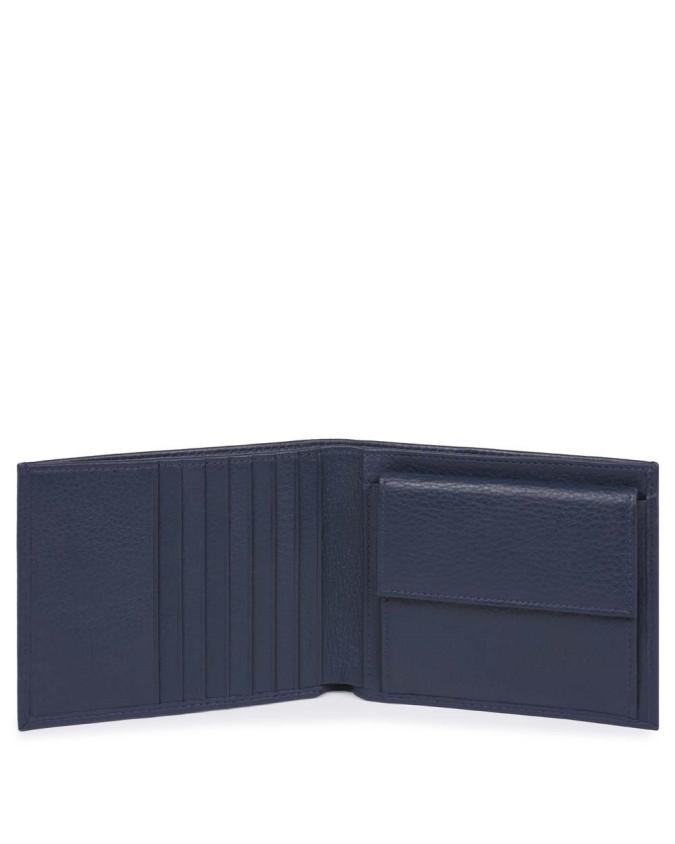 PIQUADRO - Portafoglio uomo in pelle con porta monete - Blu -