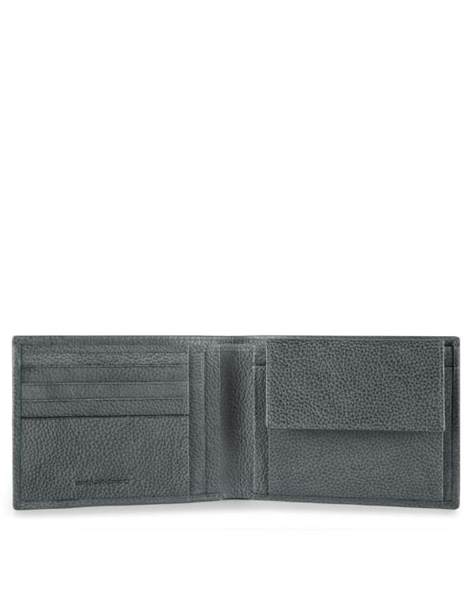 PIQUADRO - Portafoglio uomo in pelle con porta monete - Grigio