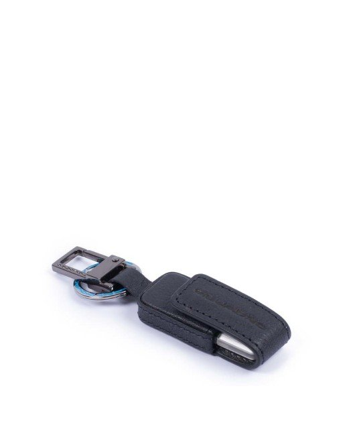 PIQUADRO - Custodia in pelle e chiavetta USB 16 GB - Blu -