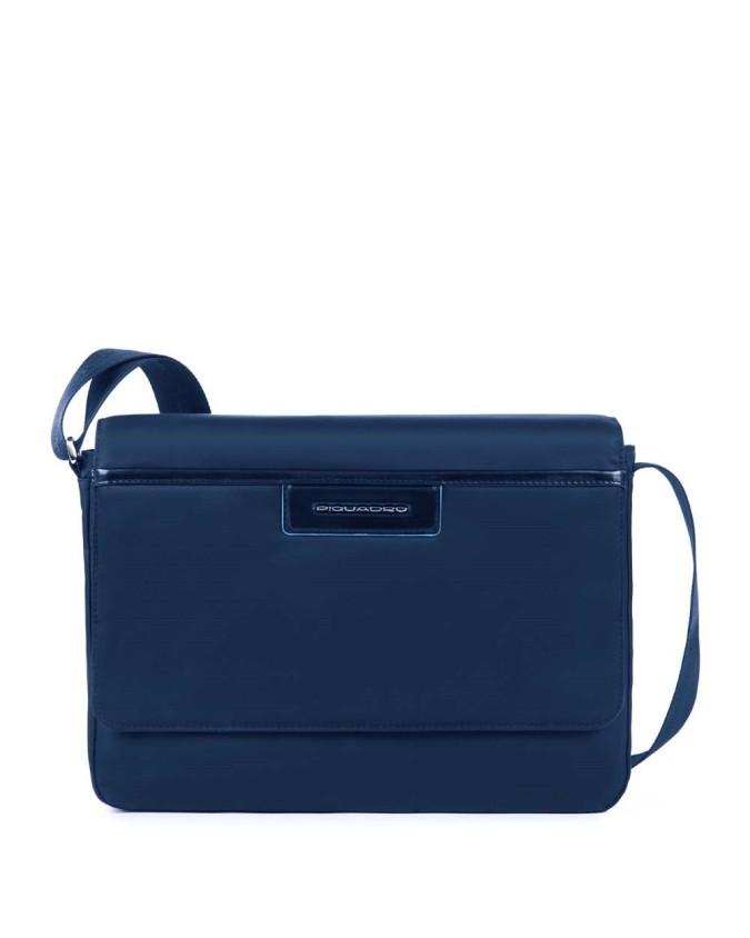 PIQUADRO - Messenger in pelle e tessuto blu - Blu - CA2224CE/BLU