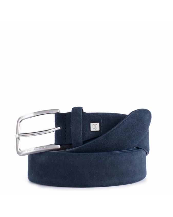 PIQUADRO - Cintura 35 mm in pelle scamosciata con ardiglione -
