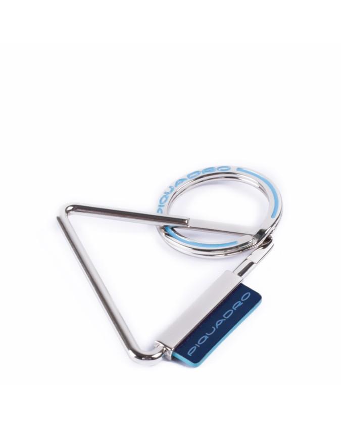 PIQUADRO - Portachiavi in metallo e dettaglio in pelle - Blu -