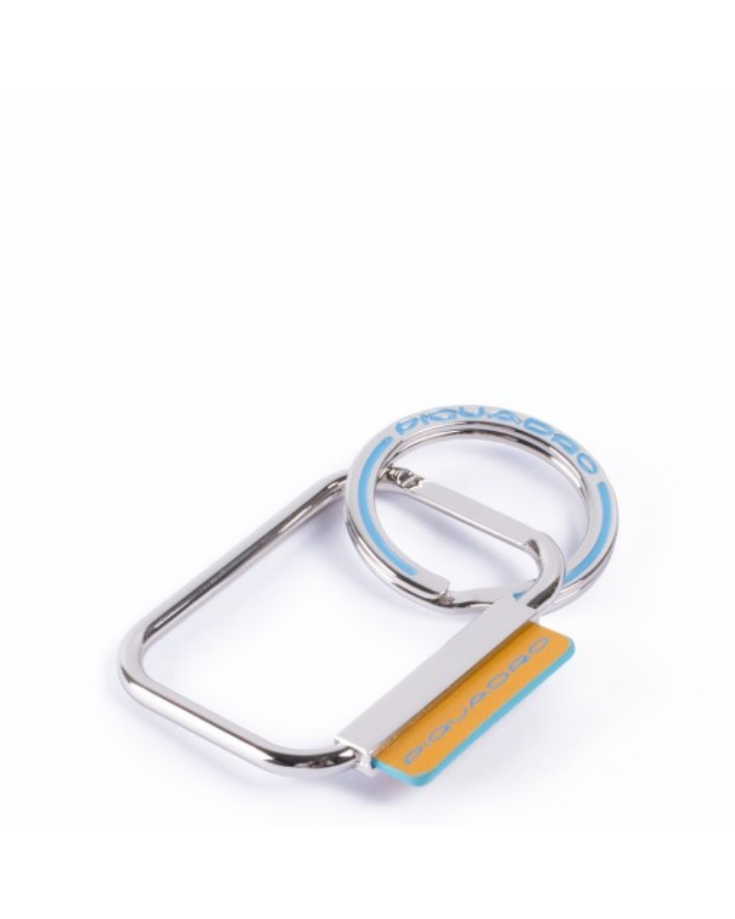 PIQUADRO - Portachiavi in metallo con dettagli in pelle -