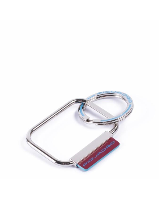 PIQUADRO - Portachiavi in metallo con dettagli in pelle - Rosso