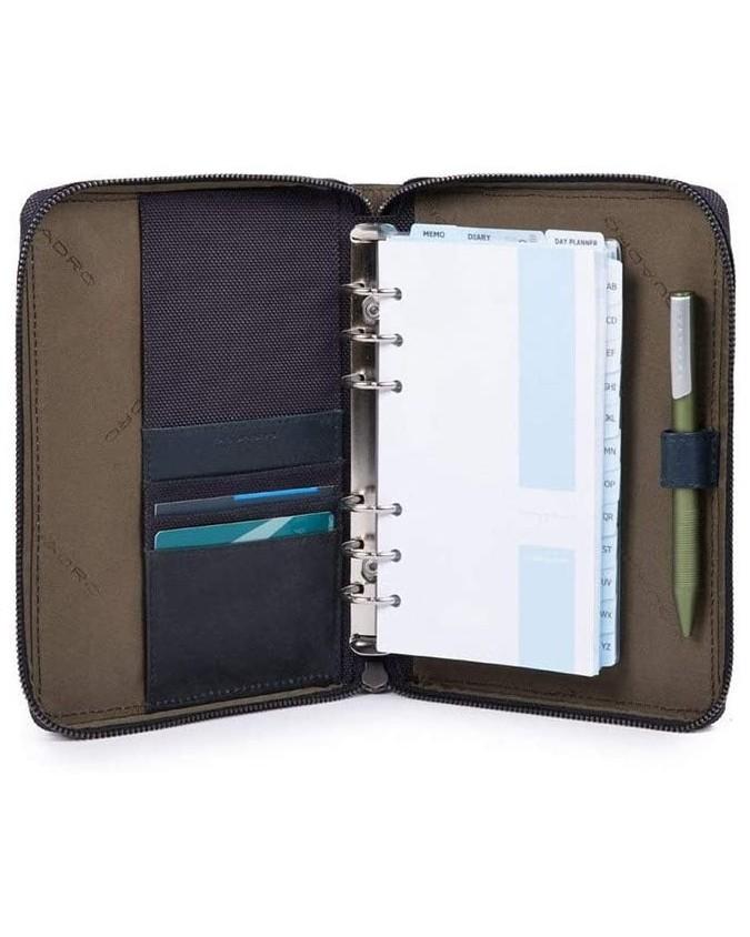 PIQUADRO - Organizer medio con chiusura a zip - Blu - interno AG4527BR/BLU
