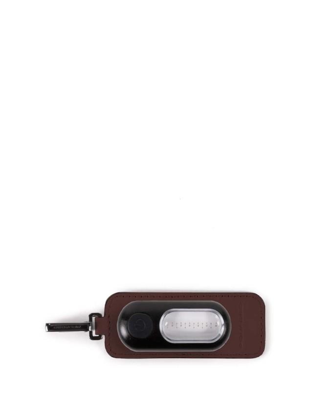Piquadro - Address tag in pelle con torcia