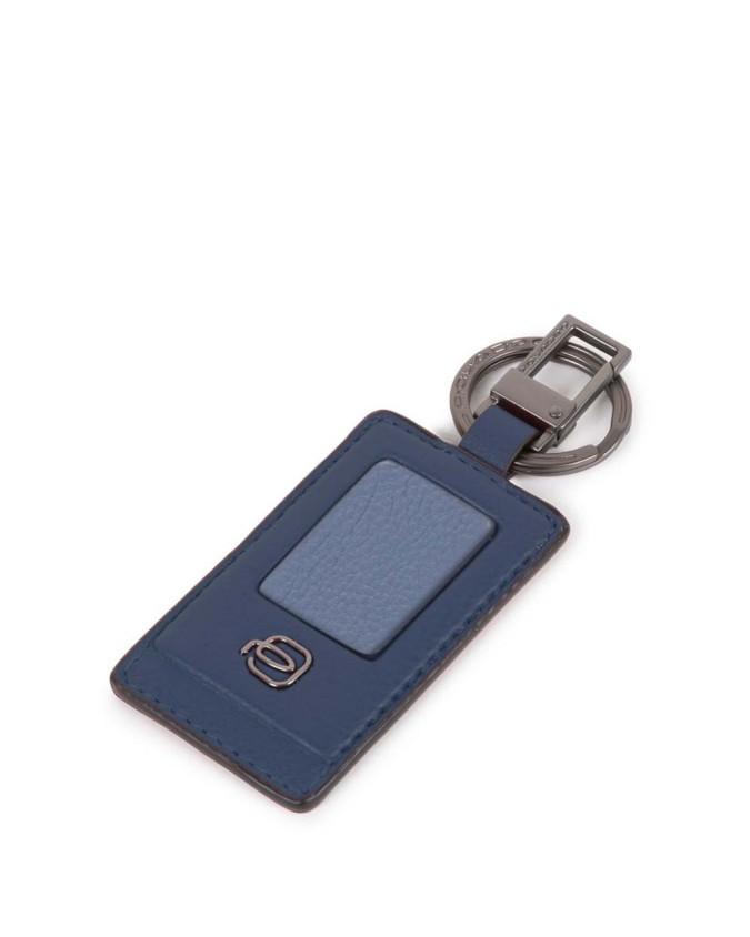 Piquadro -  Akron portachiavi con tag personalizzabile in pelle