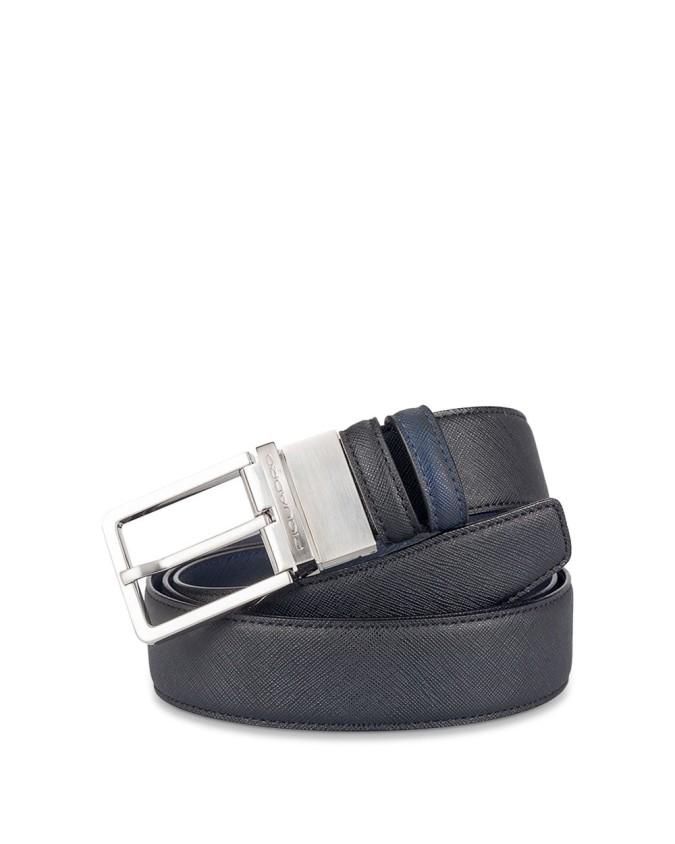 PIQUADRO - Cintura reverse con pelleame saffiano 35m - Nero/Blu