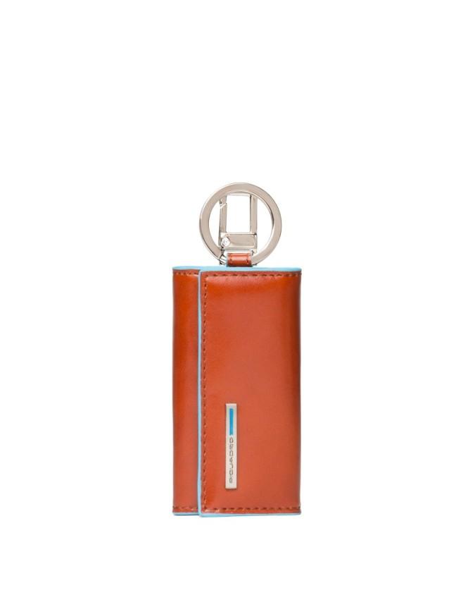 PIQUADRO - Portachiavi Blue Square in Pelle con moschettone Arancione - PC1253B2/AR