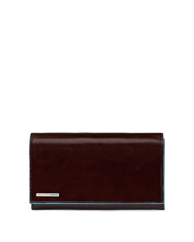 PIQUADRO - Portafoglio donna in Pelle - Mogano - Linea Blue Square - PD1855B2/MO