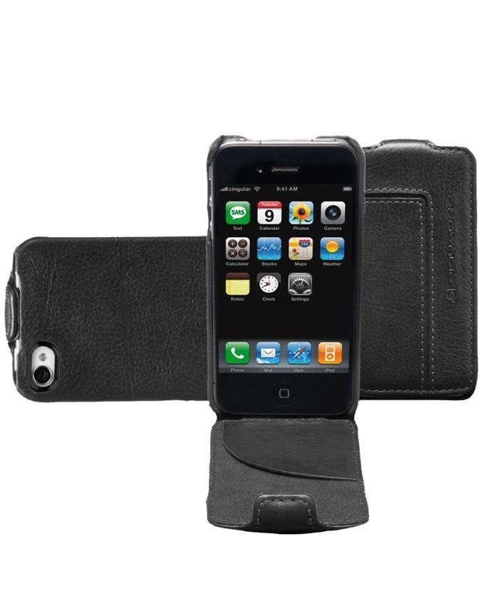 PIQUADRO - Porta iPhone4 e iPhone4S rigido con patta - Nero -