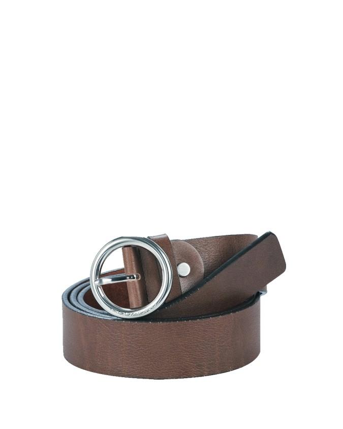 PIQUADRO - Cintura con fibbia tonda ad ardig.ne 35mm in pelle -