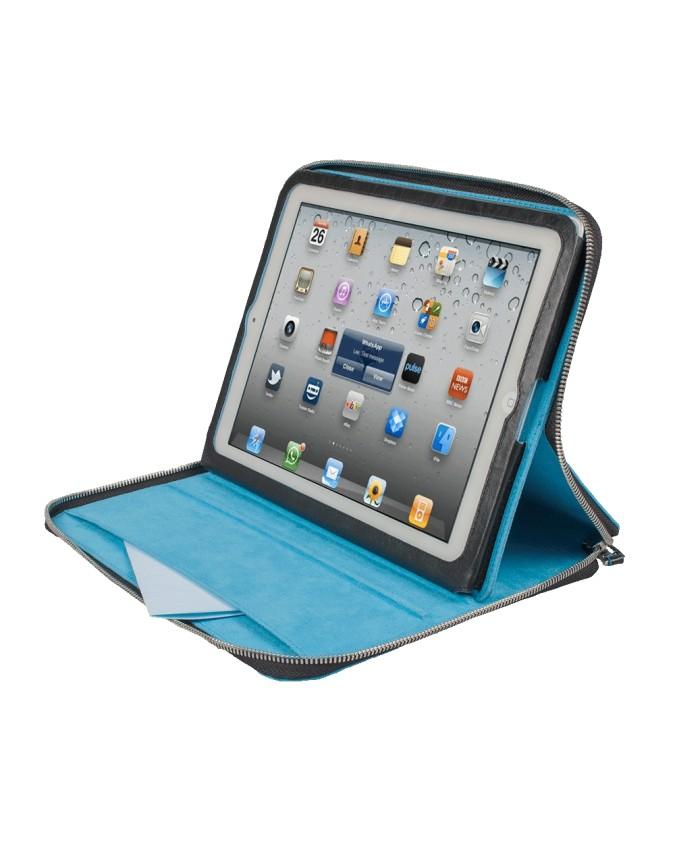 PIQUADRO - Custodia per iPad con tracolla in pelle - Blu -